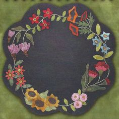 WOOL KIT: Primitive Folk Art Wool Applique Pattern and Woolens - Garden BLOOMS Table Mat