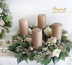 Christmas Time, Xmas, Holiday, Advent Wreaths, Pillar Candles, Table Decorations, Create, Flowers, Inspiration