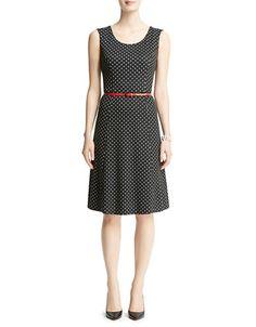 Anne Klein Petite Petite Polka-Dot Ponte Flare Dress $139.00 by Lord & Taylor