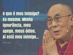 O que é meu inimigo? Eu mesmo. Minha ignorância, meu apego, meus ódios. Aí está meu inimigo... Dalai Lama, A Guy Like You, Motivational Phrases, Gandhi, More Than Words, Ted Talks, Amazing Quotes, Yoga Meditation, Life Lessons