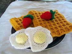 "Amigurumi Food: Skinny Hooker Breakfast: Waffles ,Eggs and Strawberries - Free Crochet Pattern PDF File , click ""download"" or ""free Ravelry download"" here: http://www.ravelry.com/patterns/library/skinny-hooker-breakfast"