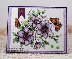 Twinshappy: Climbing Clematis digital stamp set by Power Poppy, card design by Stacy Morgan.