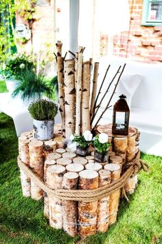 DIY garden decoration: original and simple ideas with recycl . – Garten Dekoration DIY garden decoration: original and simple ideas with recycling object! Diy Garden Decor, Garden Art, Garden Design, Garden Decorations, Table Decorations, Herb Garden, Birch Branches, Birch Bark, Deco Nature