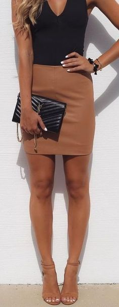 #summer #cool #outfits | Black Bodysuit + Camel Leather Skirt