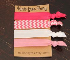 All about Pink Set of 4 Hair Ties- Ponytail Holders- Hair Elastics