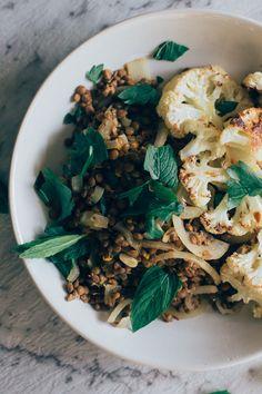 Roasted Cauliflower with Lebanese Lentils