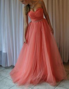 Lovely Sweetheart Coral Long Tulle Prom Dresses, Coral Party Gowns, Floor Length Prom Dress