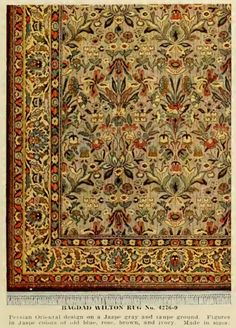 Bagdad Wilton Rug. Persian Oriental design on a Jaspe gray and taupe ground. Figures in Jaspe colors of old blue, rose, brown and ivory. From an early 1900s H.A. Herz catalog.