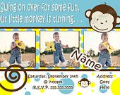 Mod Monkey Invitation Photo - 1st Birthday Party Boy pictures invite - 1 year old (multiple options available). $17.99, via Etsy.