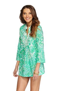 Lilly Pulitzer Sarasota Beaded Tunic, $148 in resort white bungle in the jungle
