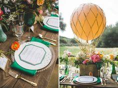 World of Oz Inspiration featuring Matthew Christopher's Chloe Gown / #Wedding #Bridal #Bride / hot air balloon table centerpiece