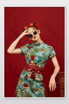 Cute photo of beautiful girl in Chinese style with meatball head and cheongsam sunglasses   Photo JPG Free Download - Pikbest