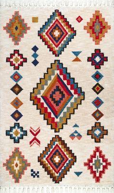 Rugs USA Multi Bosque Lafalle Tassel rug - Southwestern R Shag Carpet, Diy Carpet, Modern Carpet, Polyester Rugs, Buy Rugs, Rugs Usa, Contemporary Rugs, Persian Carpet, Carpet Runner