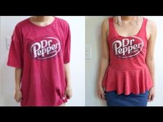 DIY T-shirt into Peplum Top - YouTube, I've seen so many guy shirts that I wish were made for girls, now I can make them myself!