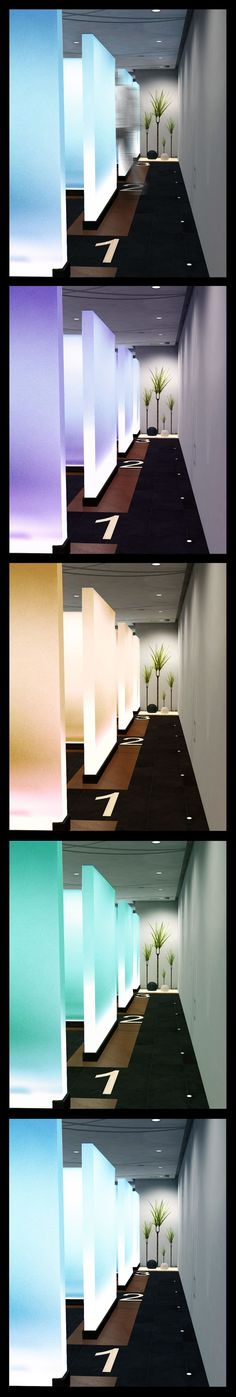 Dental Clinic with Plexi glass walls and LED lighting which change colors all the time. Healthcare Architecture, Healthcare Design, Interior Architecture, Interior Design, Bureau Design, Corporate Interiors, Office Interiors, Commercial Design, Commercial Interiors