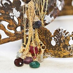 Gemstone Necklace Overstock! Simple and lovely, these gemstone droplets layer well with an Alphabet Charm or are just perfect by themselves. 12 Birthstones available. Sold previously on One Kings Lane
