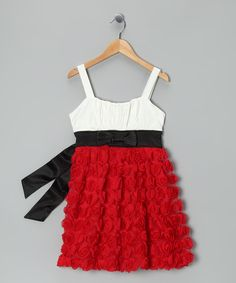 Look at this White & Red Rosette Tiered Dress on #zulily today!