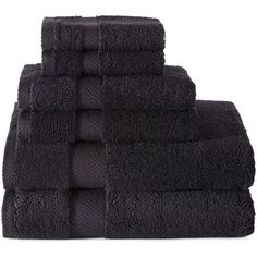 JCPenney Home™ 6-pc. Bath Towel Set ($60) ❤ liked on Polyvore featuring home, bed & bath, bath, bath towels, cotton bath towels, 6 piece towel set, cotton washcloths, cotton hand towels and jcpenney home