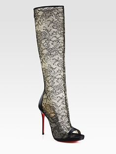 Christian Louboutin - Alta Lace and Satin Knee-High Boots