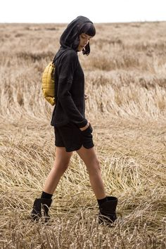 Kamila Gronner fw 2014/15, openwork knit hoodie & quilted shorts.  @shwrm @pakamera @ideafixkrakow @decobazaar