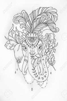 Sketch Of The Circus Elephant With Feathers On White Background. Stock Illustration - Illustration of coloring, floral: 84151059 Pretty Flower Tattoos, Cute Tiny Tattoos, Small Tattoos, Circus Elephant Tattoos, Elephant Tattoo Design, Elephant Colour, Zentangle Drawings, Black Girl Art, Mandala Coloring