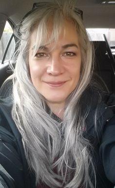 Natural long silver hair