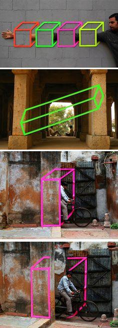 Street art with tape by Aakash Nihalani www.aakashnihalani.com