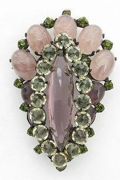 Vintage 1950s Schreiner Brooch Stunning Large Glass Jeweled Pin Pendant