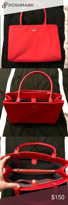 "Kate Spade Classic Nylon Small Phoebe This is a very rare cherry red Nylon Tote bag. It has a middle zipped pocket and an open pocket on each side. It's practically new, I've only used it once. I have too many bags that I don't use most of them often enough. 8.2""H x 11.9""W x 4.3""D kate spade Bags Totes"