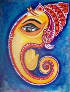 Ganesha Drawing, Lord Ganesha Paintings, Ganesha Art, Krishna Art, Ganesh Pic, Madhubani Art, Madhubani Painting, Mural Painting, Mural Art