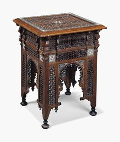 A Moorish ivory and mother-of-pearl-inlaid hardwood and ebonised occasional table, circa 29 in cm) high; in cm) square. Estimate This lot is offered in Interiors on 20 July 2016 at Christie's in London, South Kensington Furniture Depot, Table Furniture, Rustic Furniture, Antique Furniture, Cool Furniture, Modern Furniture, Furniture Ideas, Geek Furniture, Furniture Outlet