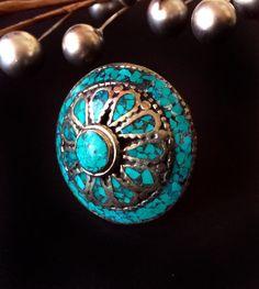 Turquoise RingMens Ringwomens ringVintage Navajo by taneesijewelry, $76.99