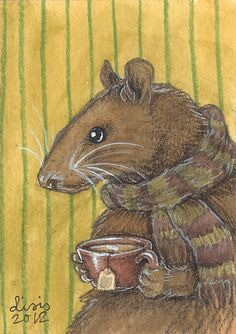 "lindentea:    liselotte-e:    Rat With Tea2.5 "" x 3.5 "" ACEO by Liselotte Eriksson: website - tumblr - facebook    gpoy, especially circa 2004"