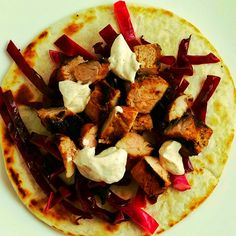 Pork asada tacos with chipotle crema and red cabbage slaw. www.thesouthinmymouth.com Cabbage Slaw, Red Cabbage, Chipotle Crema, Asada Tacos, Just Cooking, Vegetable Pizza, Freezer, Pork, Ethnic Recipes