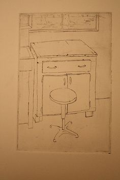 stool & cabinet, etching