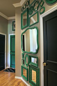Love this wall of kelly green mirrors. Dimples and Tangles: Purple Mirror, Do It Yourself Home, My New Room, House Colors, Decorating Tips, Home Projects, Just In Case, Thrifting, Home Decor