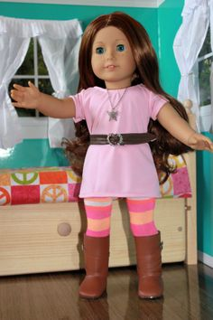 American Girl Clothing  - Dress, Leggings, Belt, and Necklace.