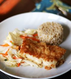 Panko Baked Rockfish with Ginger Cabbage  1-1/2 pounds rockfish or cod fillets  2 teaspoons soy sauce  1 egg, lightly beaten  1 cup panko  1/2 cup all-purpose flour  2-4 tablespoons vegetable oil