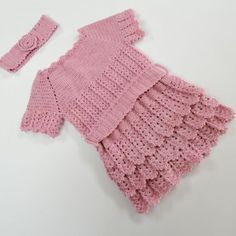 Pink Baby Dress And Headband -Handmade Baby Dress and Headband for 1 year old girls. Knittes with pink wool yarn.