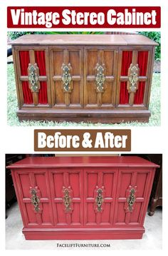 Vintage Stereo Cabinet ~ Before & After.  Read how this piece was gutted and converted into a flat screen stand!  Facelift Furniture DIY Blog.
