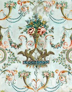 antique french wallpaper illustration griffin and pink roses