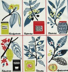 "Scandinavian tea towel ""Cook's Favourite"" - designed in the 1950s by the Swedish designer Louise Fougstedt 47cm x 70cm New 55 % linen"