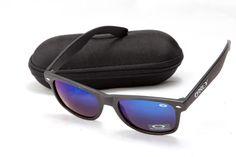Oakley Frogskins Sunglass Black Frame Blue Lens