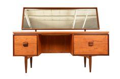 """Rare early 1960′s vanity / dressing table in teak.  Designed by Ib Kofod Larsen for G Plan's """"Danish Range""""."""