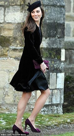 January 8, 2011, Just two months after announcing her engagement to Prince William, Catherine attended the marriage of Louise Stourton Aldborough and Harry Aubrey-Fletcher in a Libelula velvet dress, black pillbox hat, and purple pumps with bow accents.