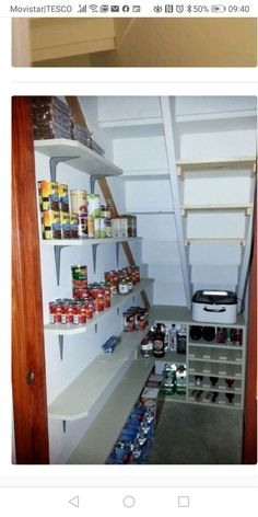 Under Stairs Storage Ideas - Storage Solutions Using Space Under Stairs Under Stairs Cupboard Storage, Shelves Under Stairs, Stairway Storage, Basement Storage, Under Stairs Pantry Ideas, Storage Room, Storage Spaces, Under Basement Stairs, Closet Under Stairs