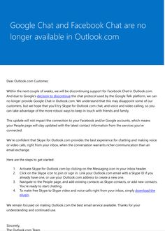 Microsoft discontinues Facebook, Google chat in Outlook.com