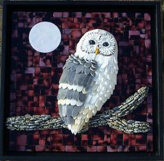 with Owl Sculpture- mosaic of stained glass, glass beads, bugel beads, ball chain and Dalmation Jasper Owl Mosaic, Mosaic Birds, Pebble Mosaic, Mosaic Wall, Mosaic Glass, Glass Art, Mosaic Crafts, Mosaic Projects, Stained Glass Projects