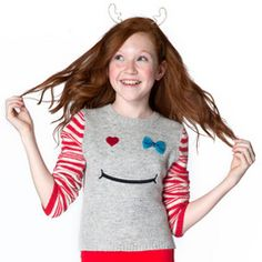 Silver Bow Wink Smiley Sweater #Christmas #tweenstyle #littlemissmatched