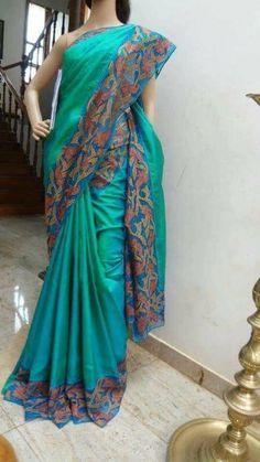 Saree Blouse Patterns, Sari Blouse Designs, Bridal Blouse Designs, Cutwork Saree, Kalamkari Saree, Saree Embroidery Design, Sari Dress, Simple Sarees, Ethnic Outfits